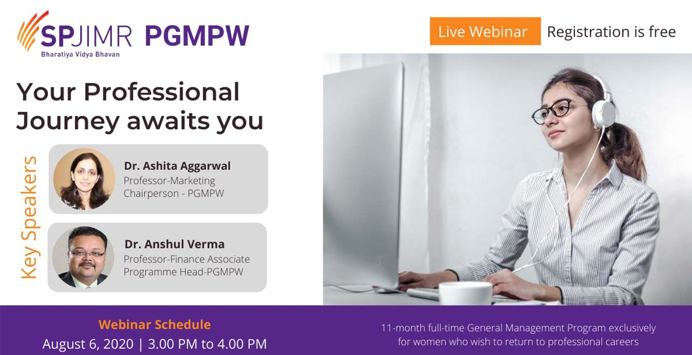 PGMPW Webinar, Post Graduate Management Programme for Women, SPJIMR, SP Jain