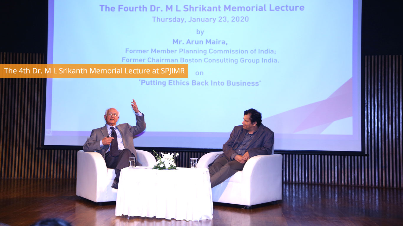 The 4th Dr. M L Srikanth Memorial Lecture at SPJIMR